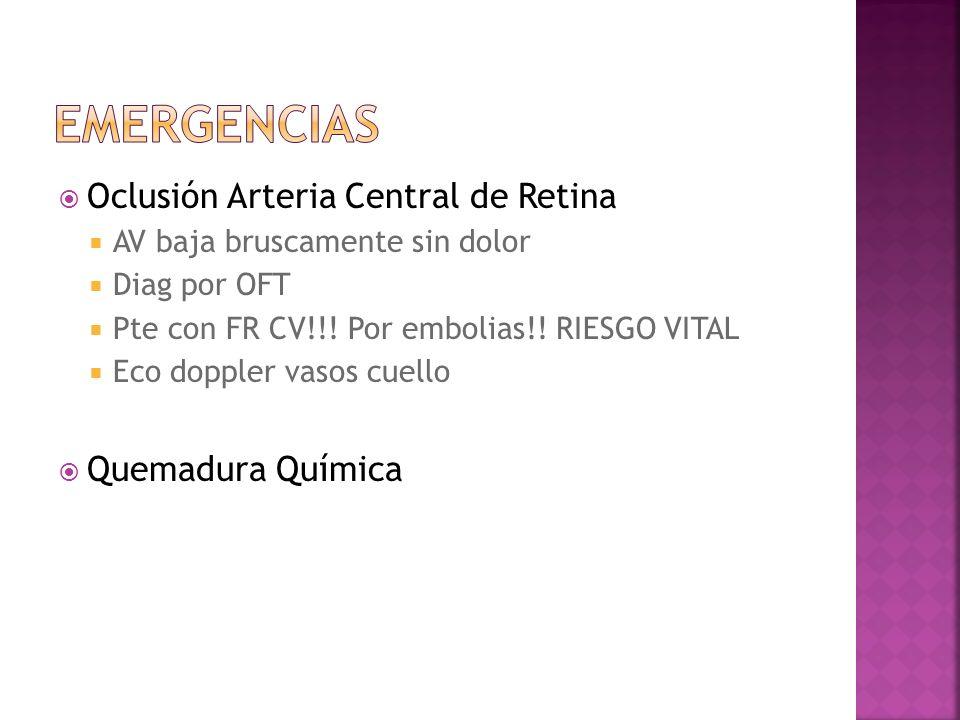 EMERGENCIAS Oclusión Arteria Central de Retina Quemadura Química