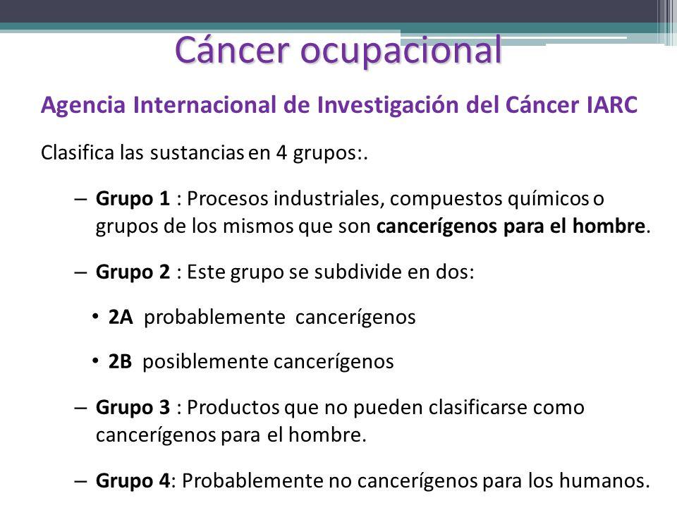 Cáncer ocupacionalAgencia Internacional de Investigación del Cáncer IARC. Clasifica las sustancias en 4 grupos:.