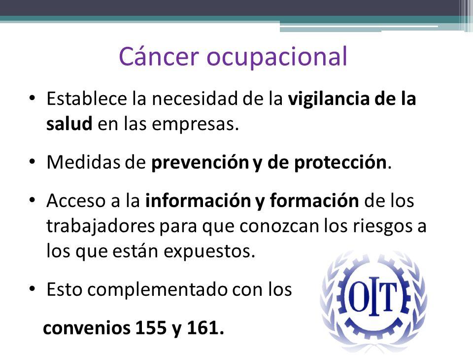 Cáncer ocupacionalEstablece la necesidad de la vigilancia de la salud en las empresas. Medidas de prevención y de protección.