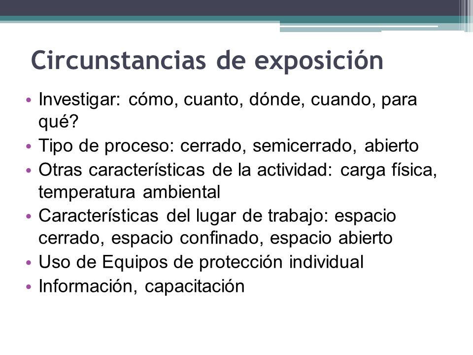 Circunstancias de exposición
