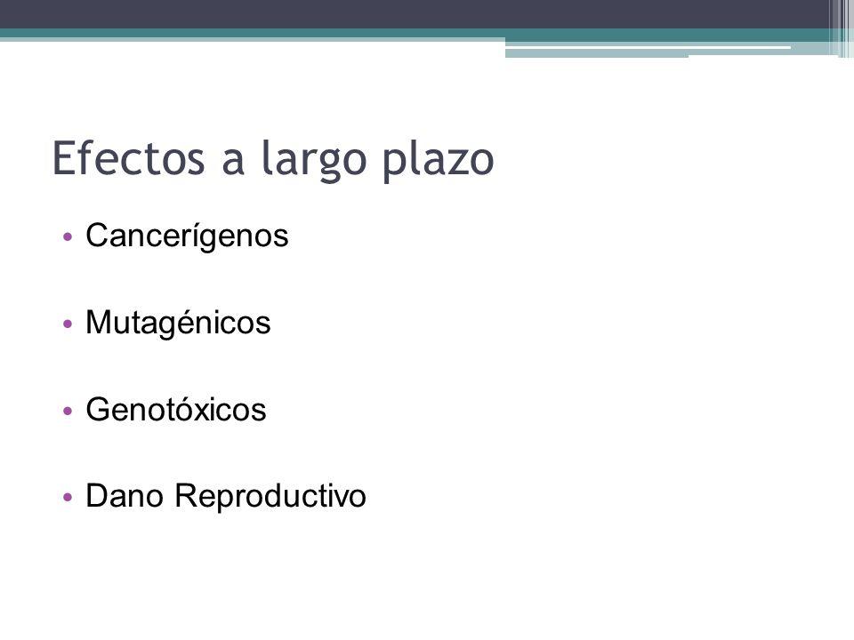 Efectos a largo plazo Cancerígenos Mutagénicos Genotóxicos