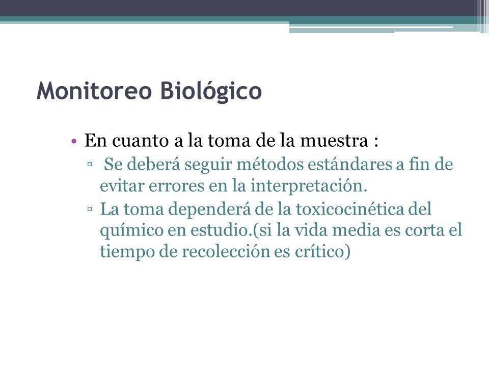 Monitoreo Biológico En cuanto a la toma de la muestra :