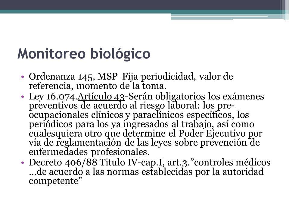 Monitoreo biológicoOrdenanza 145, MSP Fija periodicidad, valor de referencia, momento de la toma.