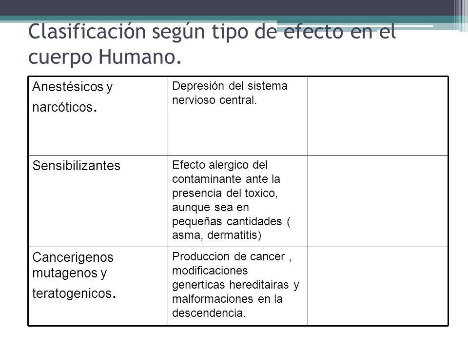 Clasificación según tipo de efecto en el cuerpo Humano.