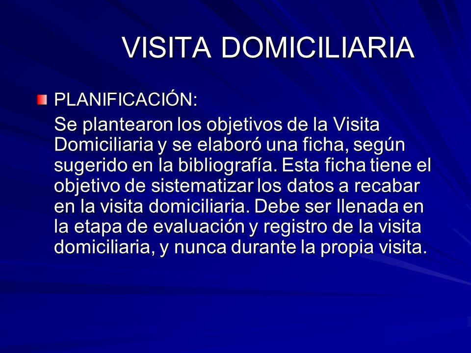 VISITA DOMICILIARIA PLANIFICACIÓN: