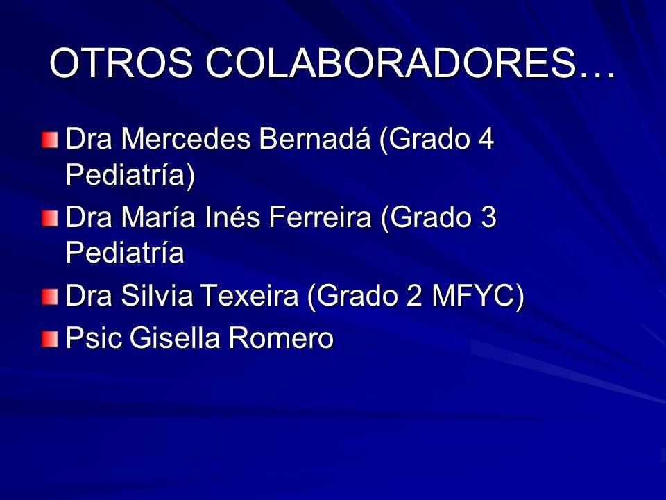 OTROS COLABORADORES… Dra Mercedes Bernadá (Grado 4 Pediatría)