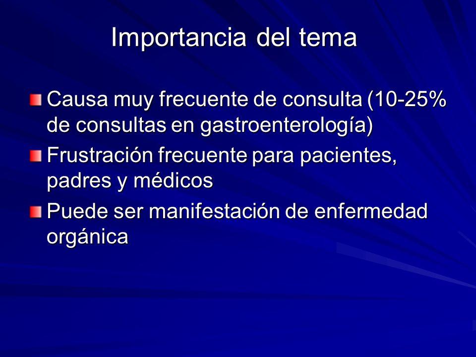 Importancia del tema Causa muy frecuente de consulta (10-25% de consultas en gastroenterología)
