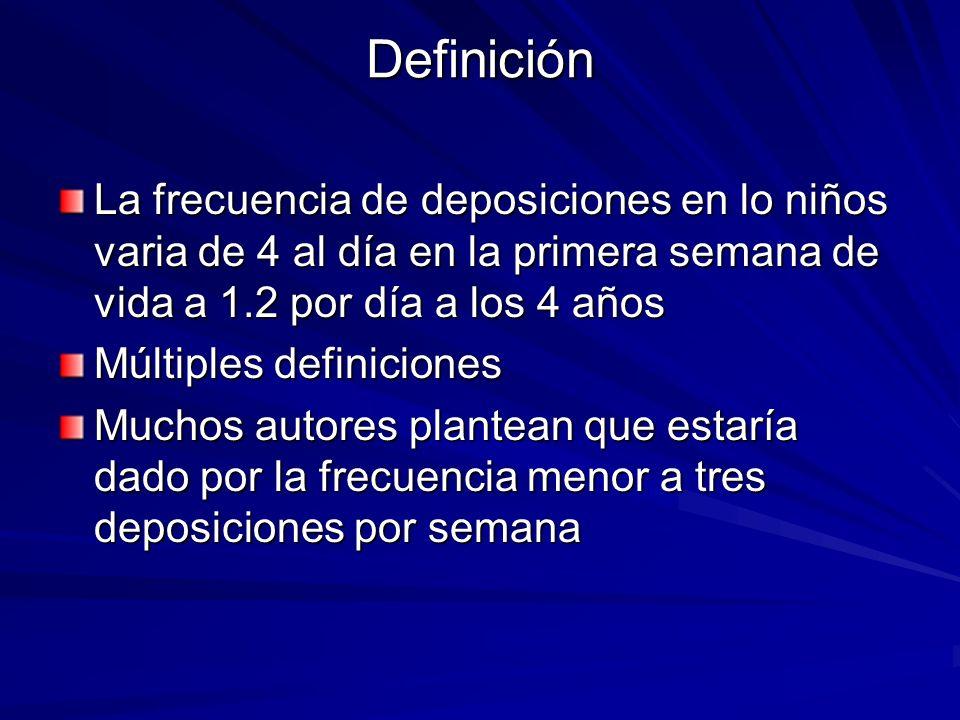 Definición La frecuencia de deposiciones en lo niños varia de 4 al día en la primera semana de vida a 1.2 por día a los 4 años.