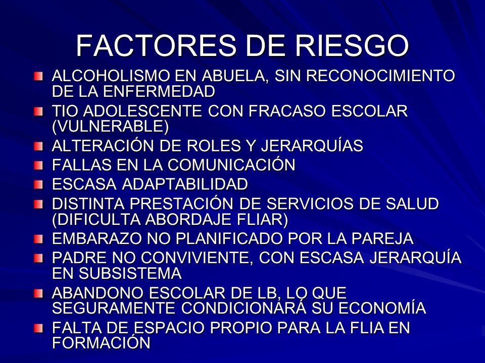 FACTORES DE RIESGOALCOHOLISMO EN ABUELA, SIN RECONOCIMIENTO DE LA ENFERMEDAD. TIO ADOLESCENTE CON FRACASO ESCOLAR (VULNERABLE)