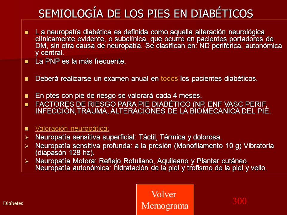 SEMIOLOGÍA DE LOS PIES EN DIABÉTICOS