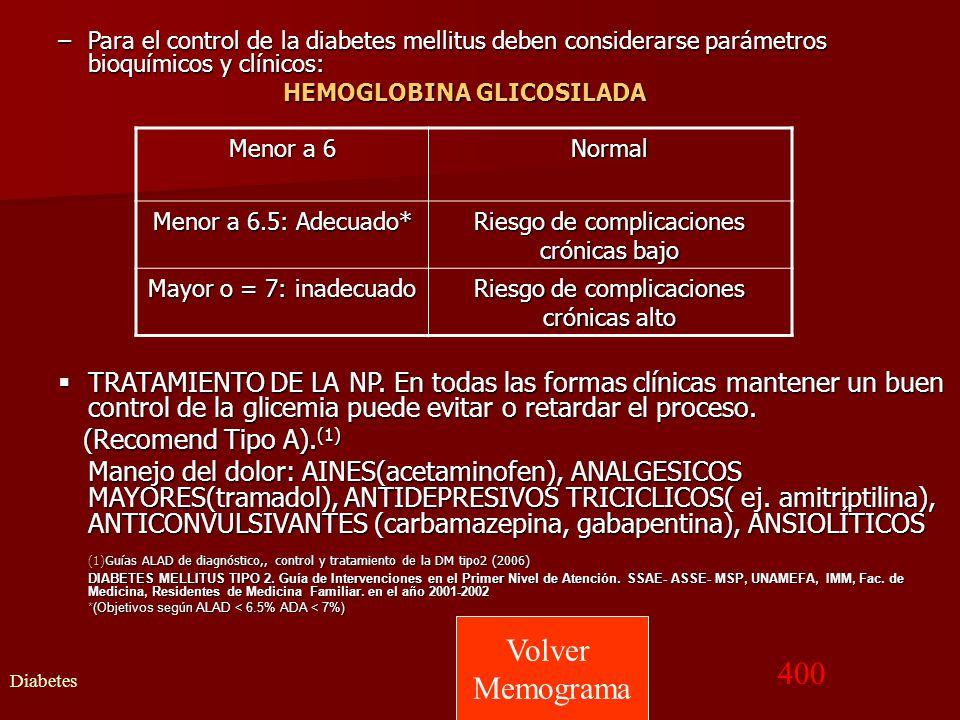 Para el control de la diabetes mellitus deben considerarse parámetros bioquímicos y clínicos:
