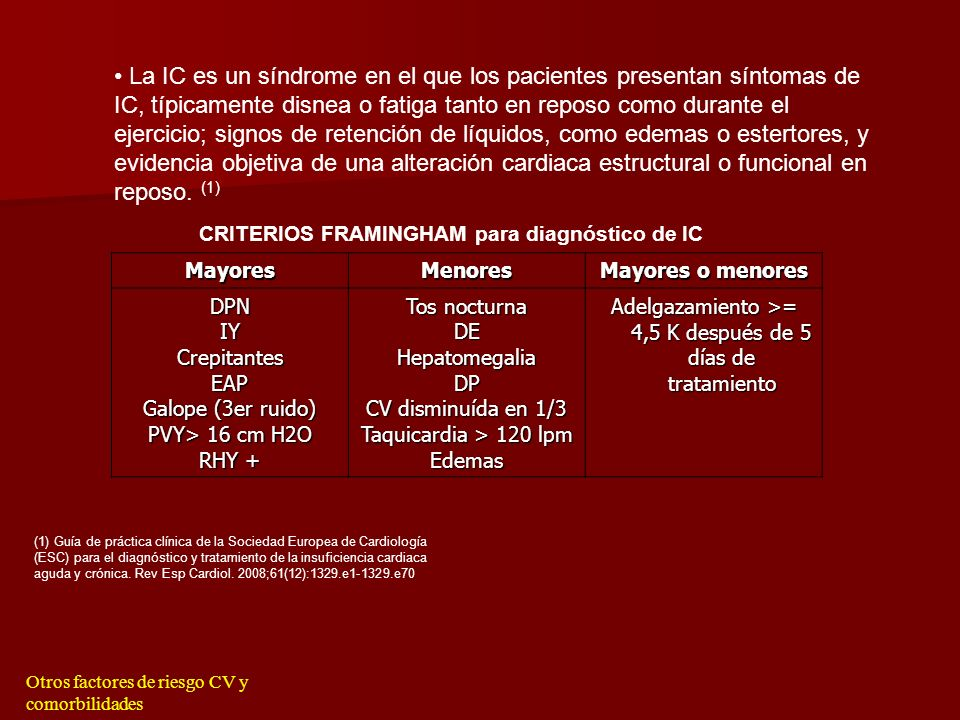 CRITERIOS FRAMINGHAM para diagnóstico de IC