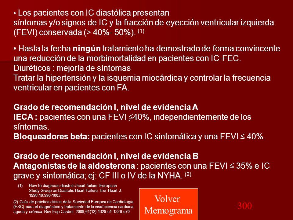 Los pacientes con IC diastólica presentan