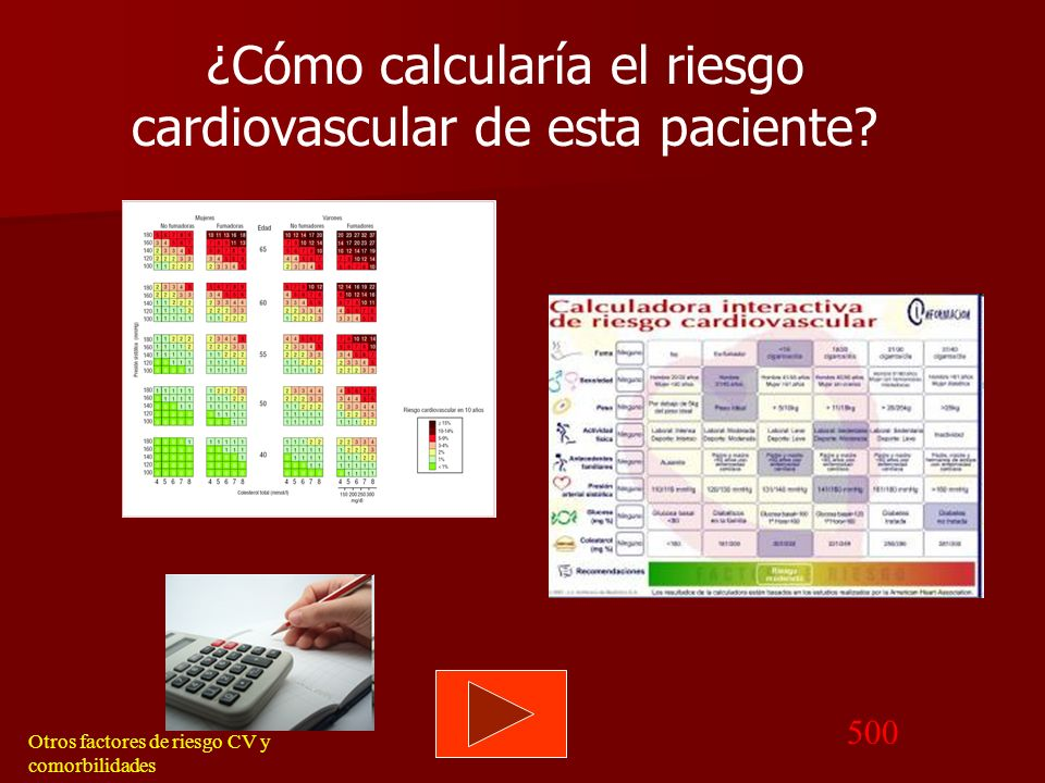 ¿Cómo calcularía el riesgo cardiovascular de esta paciente