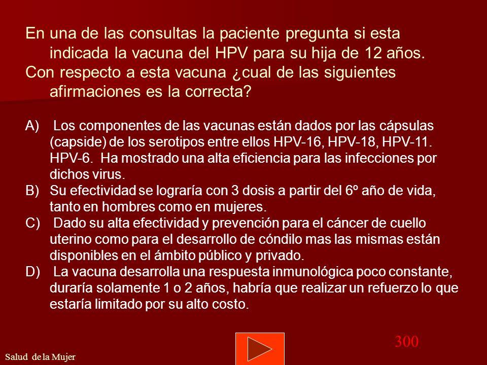 En una de las consultas la paciente pregunta si esta indicada la vacuna del HPV para su hija de 12 años.