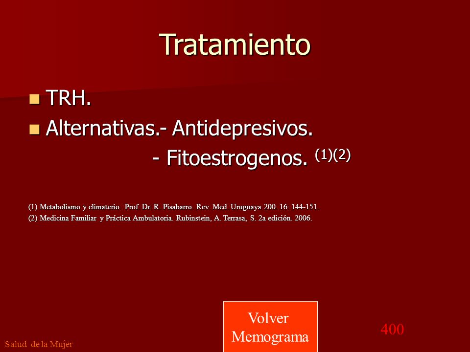 Tratamiento TRH. Alternativas.- Antidepresivos.