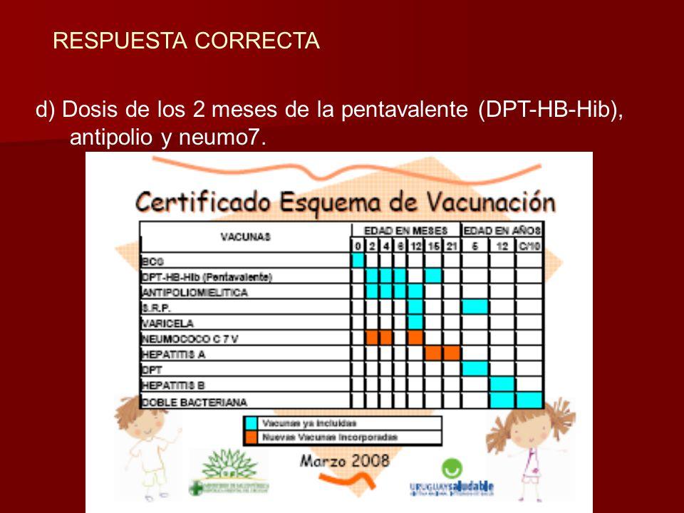 RESPUESTA CORRECTA d) Dosis de los 2 meses de la pentavalente (DPT-HB-Hib), antipolio y neumo7.