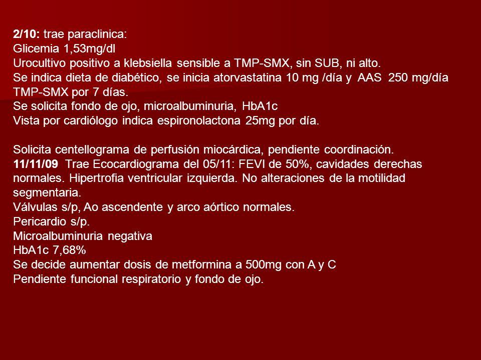 2/10: trae paraclinica: Glicemia 1,53mg/dl. Urocultivo positivo a klebsiella sensible a TMP-SMX, sin SUB, ni alto.