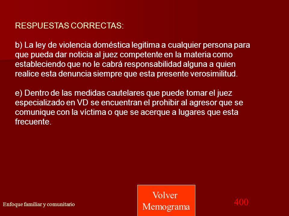 Volver Memograma 400 RESPUESTAS CORRECTAS: