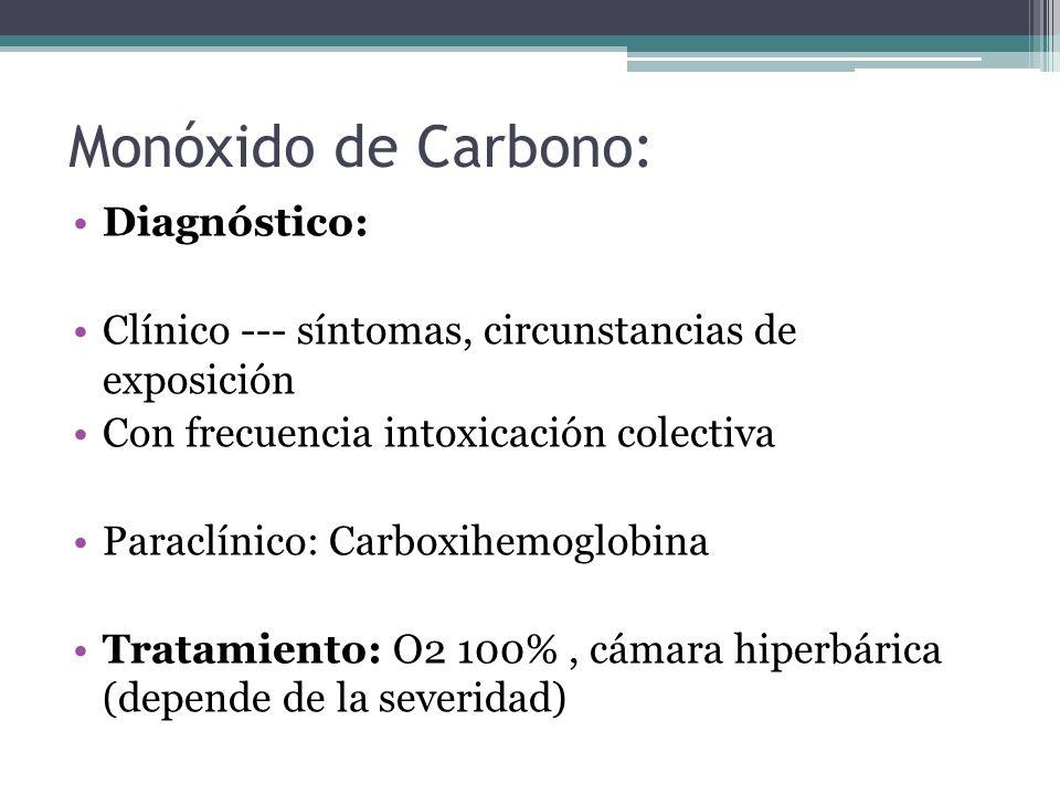 Monóxido de Carbono: Diagnóstico: