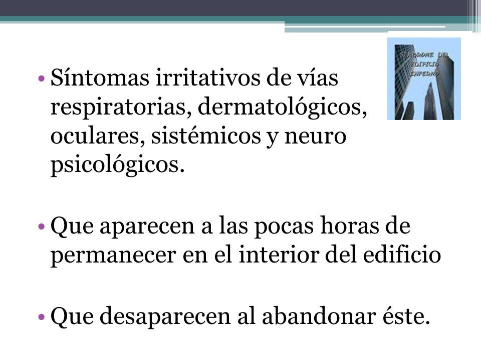 Síntomas irritativos de vías respiratorias, dermatológicos, oculares, sistémicos y neuro psicológicos.