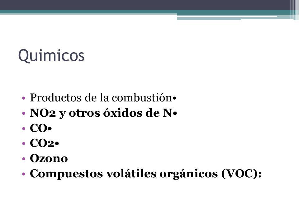 Quimicos Productos de la combustión• NO2 y otros óxidos de N• CO• CO2•