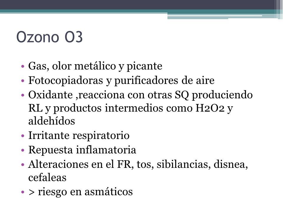 Ozono O3 Gas, olor metálico y picante