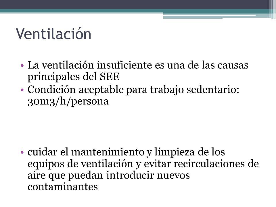Ventilación La ventilación insuficiente es una de las causas principales del SEE. Condición aceptable para trabajo sedentario: 30m3/h/persona.