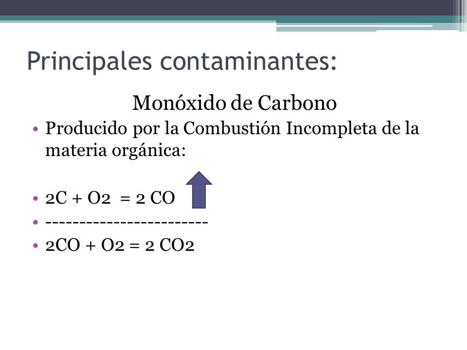 Principales contaminantes: