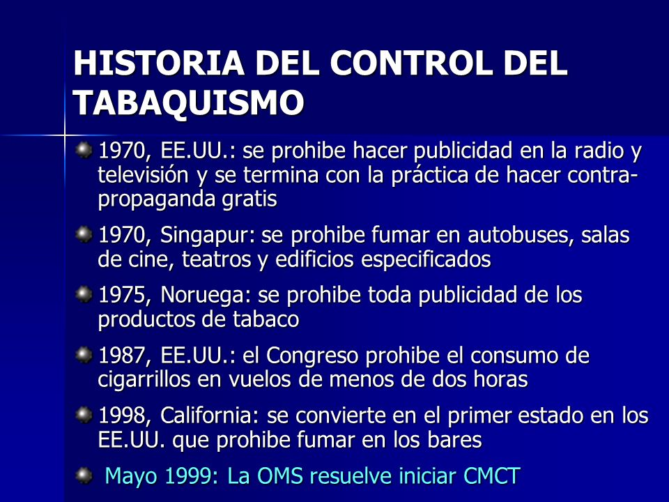 HISTORIA DEL CONTROL DEL TABAQUISMO