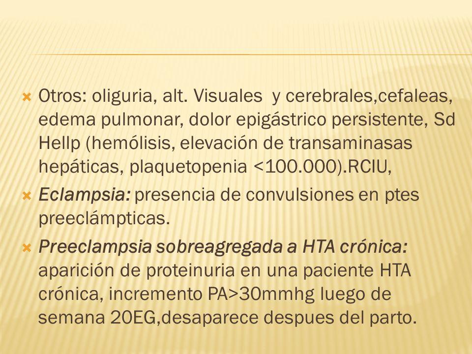 Otros: oliguria, alt. Visuales y cerebrales,cefaleas, edema pulmonar, dolor epigástrico persistente, Sd Hellp (hemólisis, elevación de transaminasas hepáticas, plaquetopenia <100.000).RCIU,