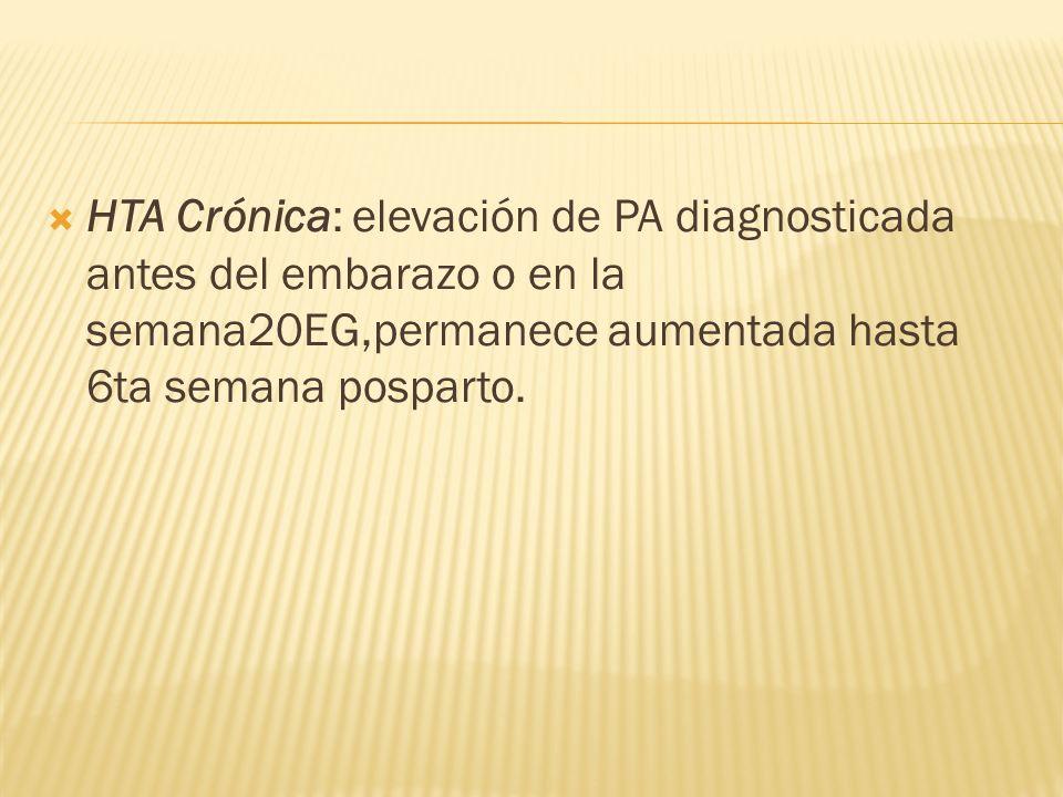 HTA Crónica: elevación de PA diagnosticada antes del embarazo o en la semana20EG,permanece aumentada hasta 6ta semana posparto.