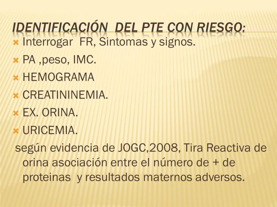 identificación del PTE CON RIESGO: