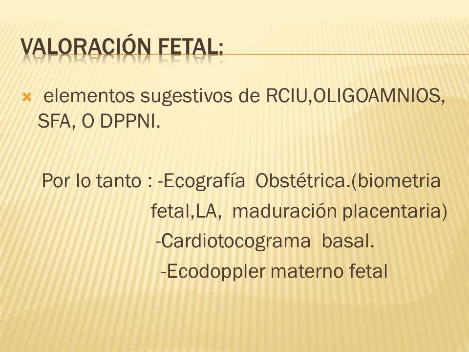 Valoración fetal: elementos sugestivos de RCIU,OLIGOAMNIOS, SFA, O DPPNI. Por lo tanto : -Ecografía Obstétrica.(biometria.