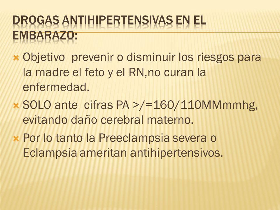 Drogas antihipertensivas en el embarazo: