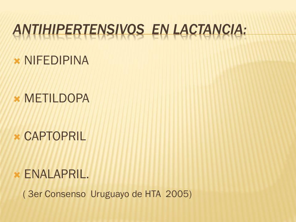 ANTIHIPERTENSIVOS EN LACTANCIA: