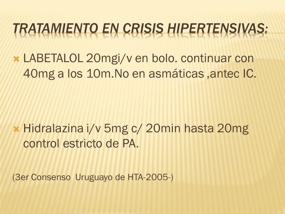 Tratamiento en crisis hipertensivas: