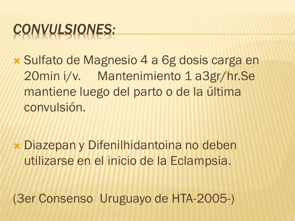 Convulsiones: Sulfato de Magnesio 4 a 6g dosis carga en 20min i/v. Mantenimiento 1 a3gr/hr.Se mantiene luego del parto o de la última convulsión.