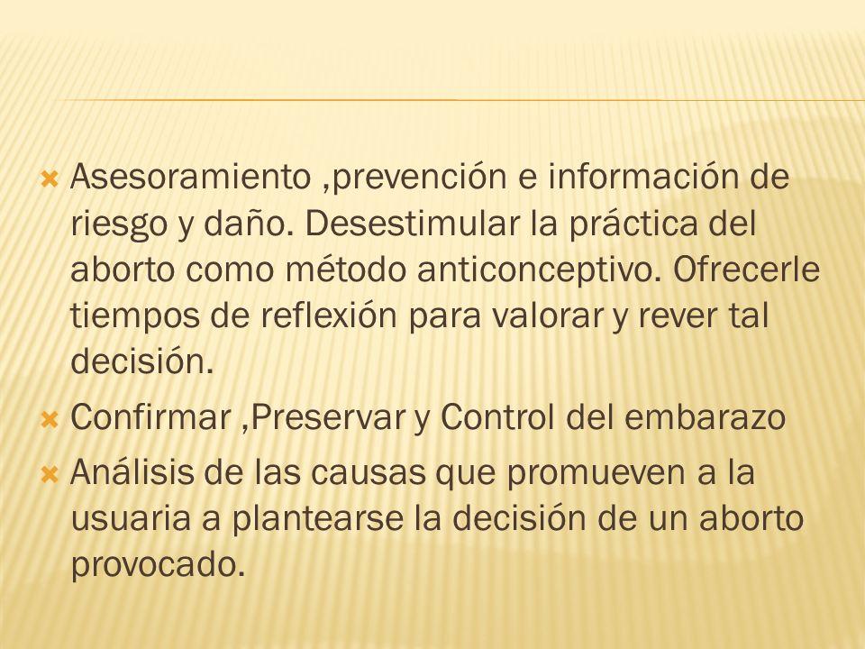 Asesoramiento ,prevención e información de riesgo y daño