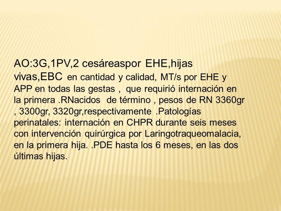 AO:3G,1PV,2 cesáreaspor EHE,hijas vivas,EBC en cantidad y calidad, MT/s por EHE y APP en todas las gestas , que requirió internación en la primera .RNacidos de término , pesos de RN 3360gr , 3300gr, 3320gr,respectivamente .Patologías perinatales: internación en CHPR durante seis meses con intervención quirúrgica por Laringotraqueomalacia, en la primera hija.