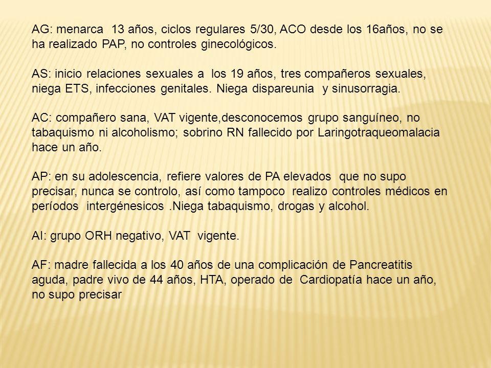 AG: menarca 13 años, ciclos regulares 5/30, ACO desde los 16años, no se ha realizado PAP, no controles ginecológicos.