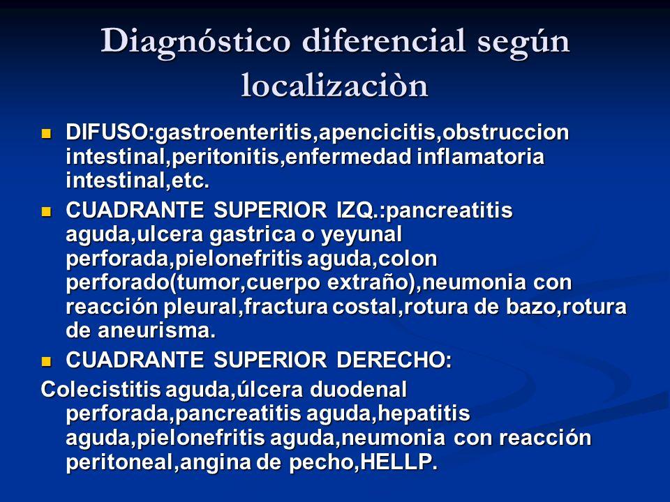 Diagnóstico diferencial según localizaciòn