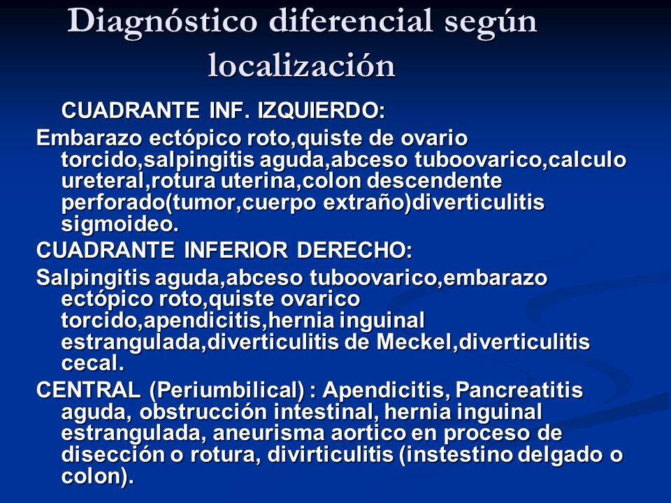 Diagnóstico diferencial según localización