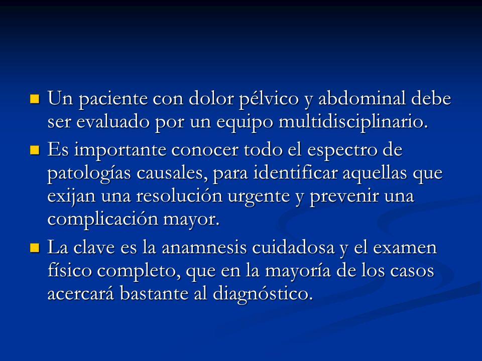 Un paciente con dolor pélvico y abdominal debe ser evaluado por un equipo multidisciplinario.