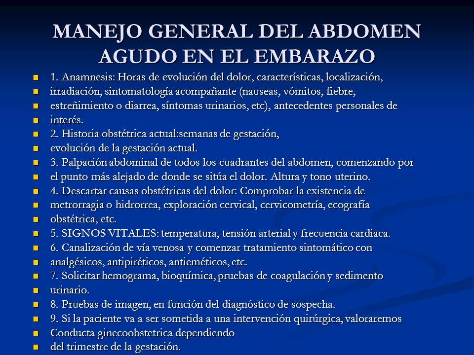 MANEJO GENERAL DEL ABDOMEN AGUDO EN EL EMBARAZO