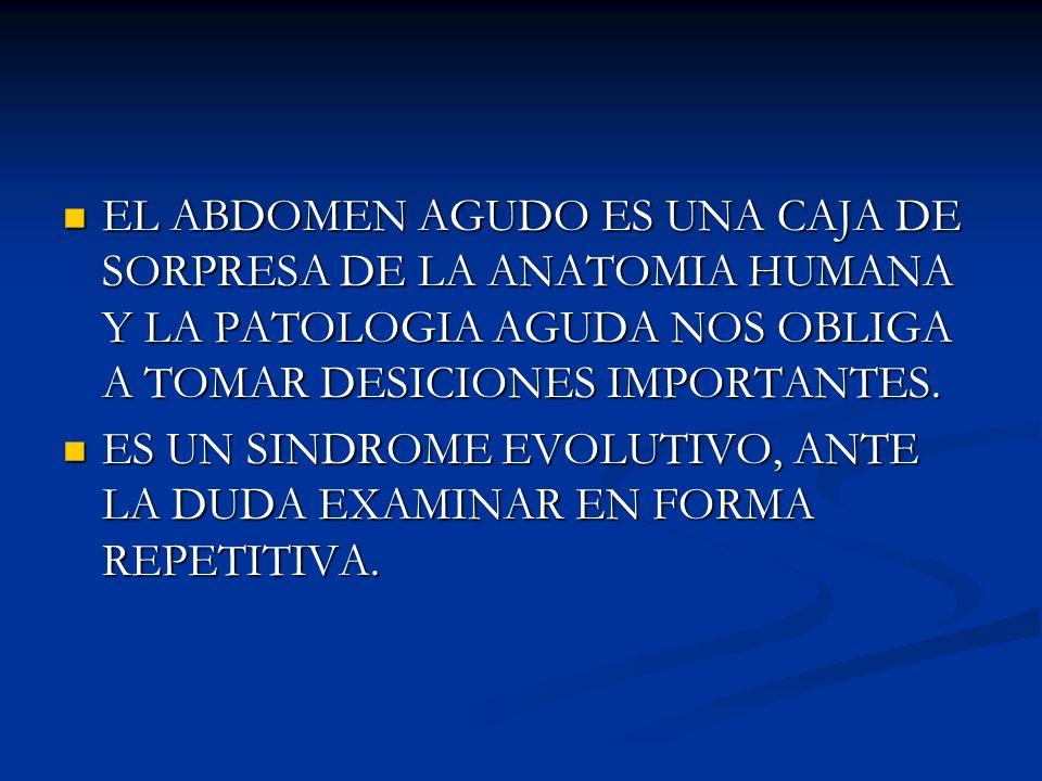 EL ABDOMEN AGUDO ES UNA CAJA DE SORPRESA DE LA ANATOMIA HUMANA Y LA PATOLOGIA AGUDA NOS OBLIGA A TOMAR DESICIONES IMPORTANTES.