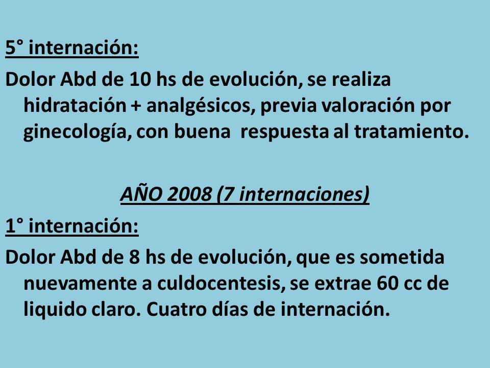 5° internación: Dolor Abd de 10 hs de evolución, se realiza hidratación + analgésicos, previa valoración por ginecología, con buena respuesta al tratamiento.