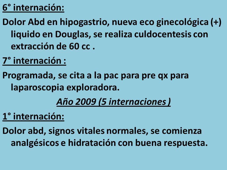 6° internación: Dolor Abd en hipogastrio, nueva eco ginecológica (+) liquido en Douglas, se realiza culdocentesis con extracción de 60 cc .