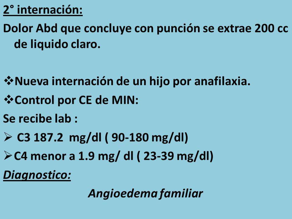 2° internación: Dolor Abd que concluye con punción se extrae 200 cc de liquido claro. Nueva internación de un hijo por anafilaxia.
