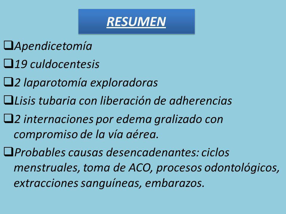 RESUMEN Apendicetomía 19 culdocentesis 2 laparotomía exploradoras
